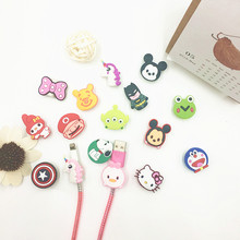2pcs Cartoon Silicone USB Cable Protector Data Line Cord Protection Case Cable Winder Cover For iPhone 5 6 6s 7 Plus 8 Samsung