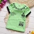 Детские мальчик девочка одежда 2016 новое лето новорожденный ребенок футболка с коротким рукавом О-Образным Вырезом письма печати причинные детские футболки