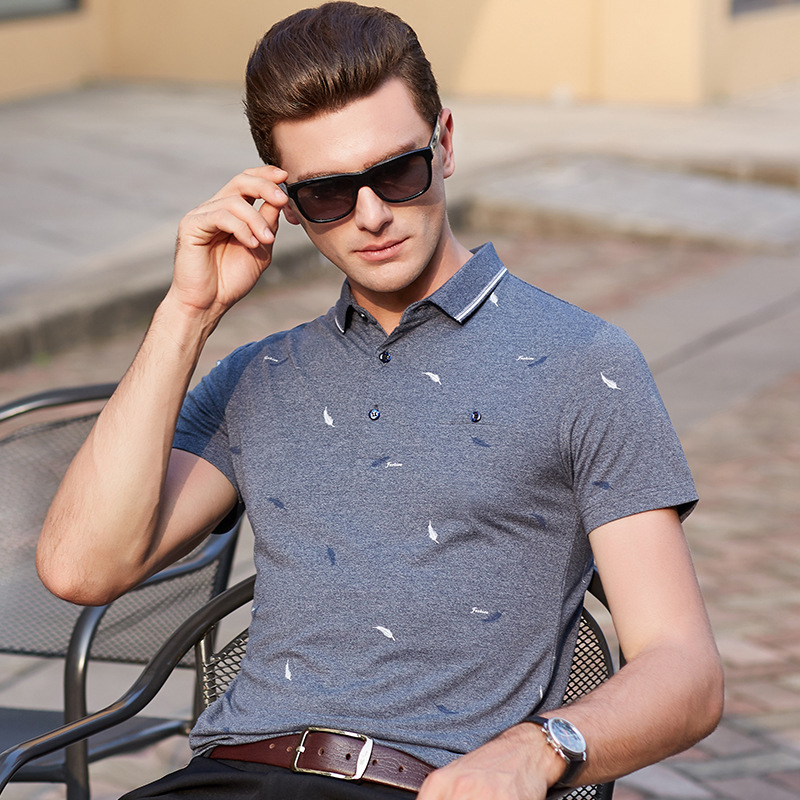 2019   Polo   shirt men summer new arrival short sleeve brand cotton business casual print plus size homme camisa mens tops tee 9668