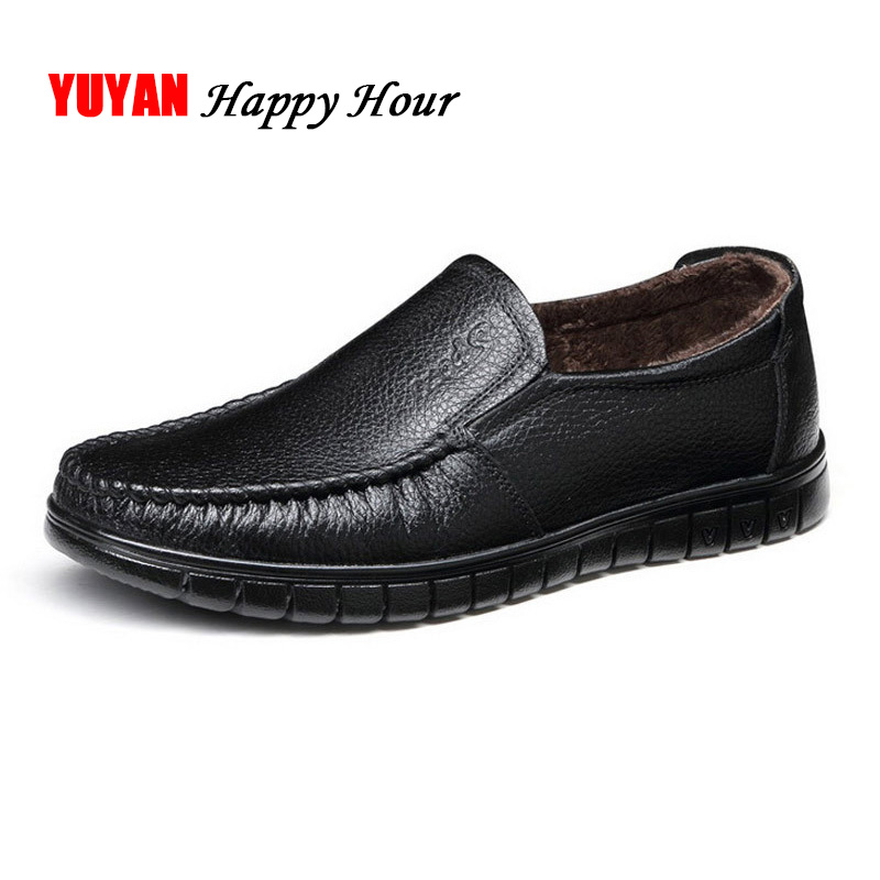 Brand Loafers Men Winter Shoes Genuine Leather Mens Shoes Casual Cowhide Men's Business Shoes Warm Plush Black Loafers KA450