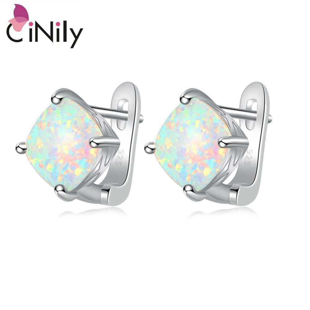 CiNily Minimalist White Fire Opal Stud Earrings Silver Plated Large Square Stone Earring Easy Chic Summer OL Jewelry Girl Woman