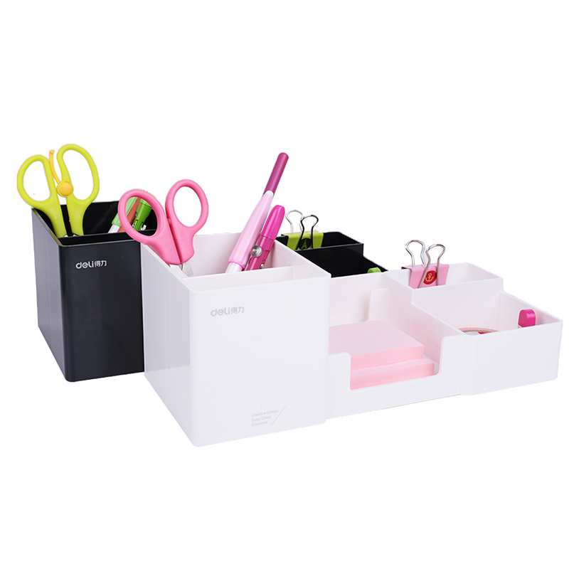 Deli Brand 1 Pc Pen Stand Holders For Office Plastic Dest Stationery Holder Big Capacity 254x112x50mm Black Color 20D9118 deli 9145 stylish pc pencil pen holder deep pink wood