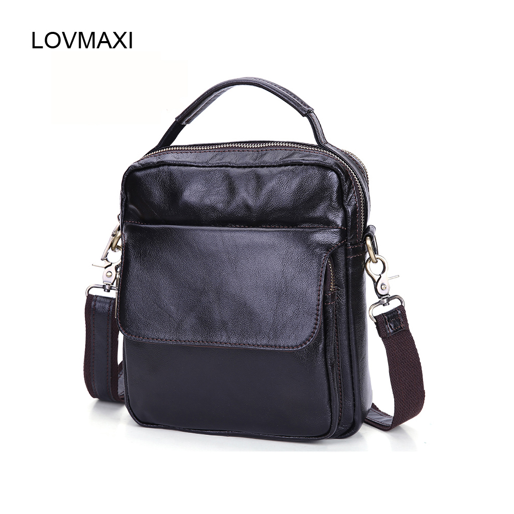 LOVMAXI Mens Real cow leather shoulder bags Male business messenger bags Coffee first layer of genuine handbags small bags