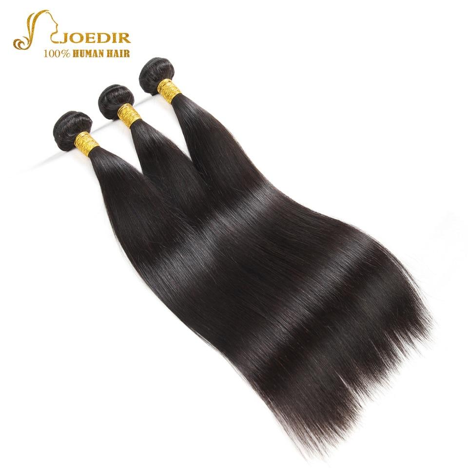 Joedir Double Drawn Human Hair Weave 3 Bundles Deal Peruvian Straight Hair Bundles Natural Black 3 Pcs/lot Human Hair Extension
