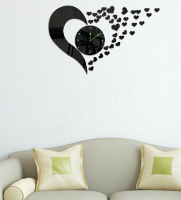 021255 DIY love mute acrylic mirror clock heart shaped married the TV wall in the sitting room the bedroom wall clock