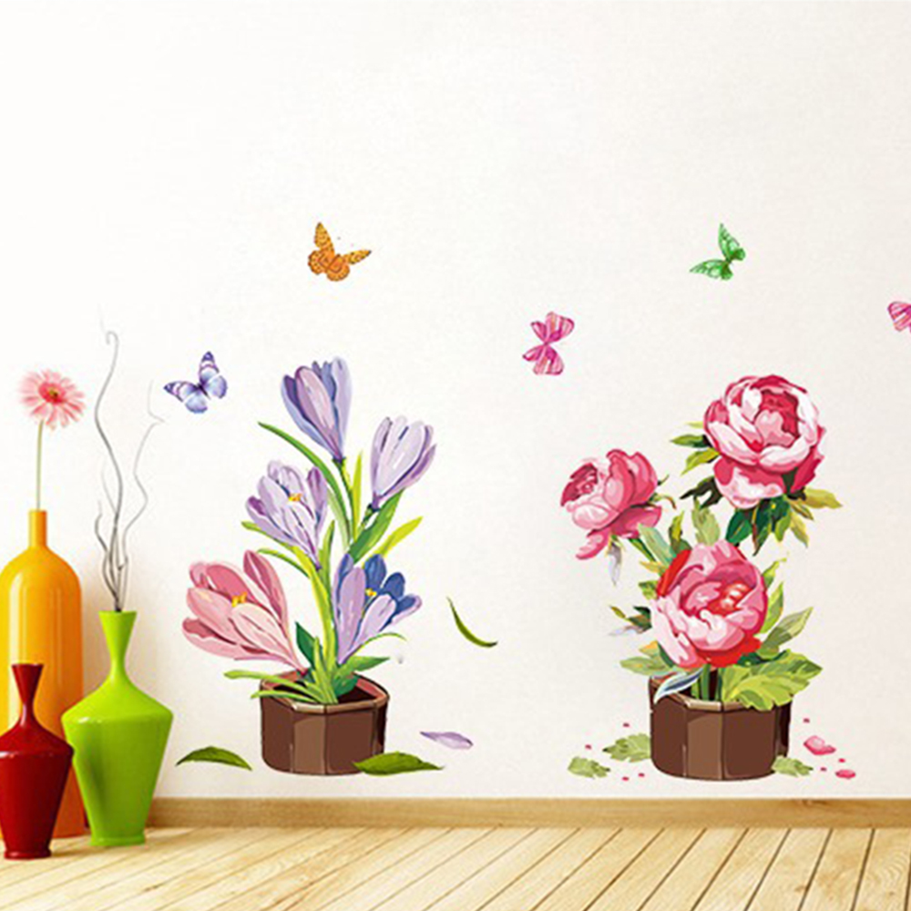 Home & Garden Potted Flowers Wall Stickers Waterproof Living Room Sofa Background Balcony Wardrobe Door Window Sticker For Bar Counter Kitchen Home Decor