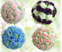 "12""(30cm) Artificial Flower Ball Centerpieces For Wedding Decoration Silk Rose Wedding Kissing Ball Centerpieces Pomanders(China)"