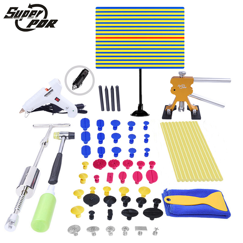 PDR Tools ferramentas Paintless Dent Repair Tools Dent Removal Tools Dent Puller LED Lamp Reflector Board Hand Tool Set PDR Kit dent puller kit pdr tools paintless dent repair removal tool car straightening instruments hand tool set ferramentas suction cup
