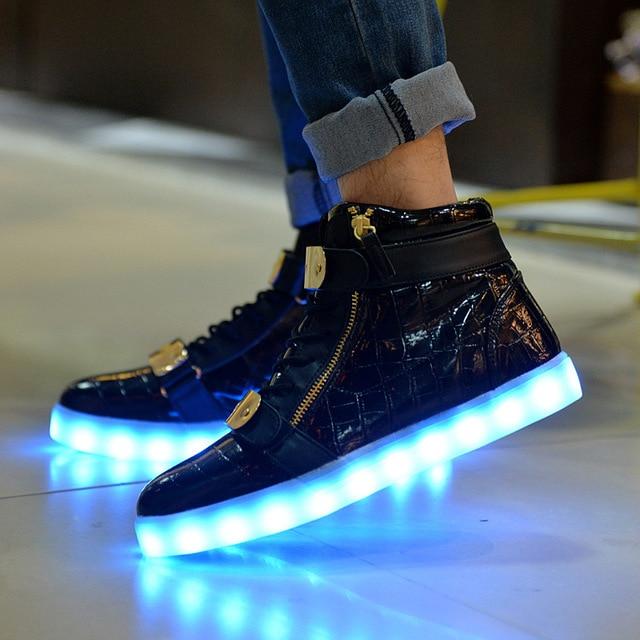 1da37ca8f7 Light up homem sapatos altos homens top sapatos unissex zapatillas mujer tenis  masculino esportivo luminosa neon