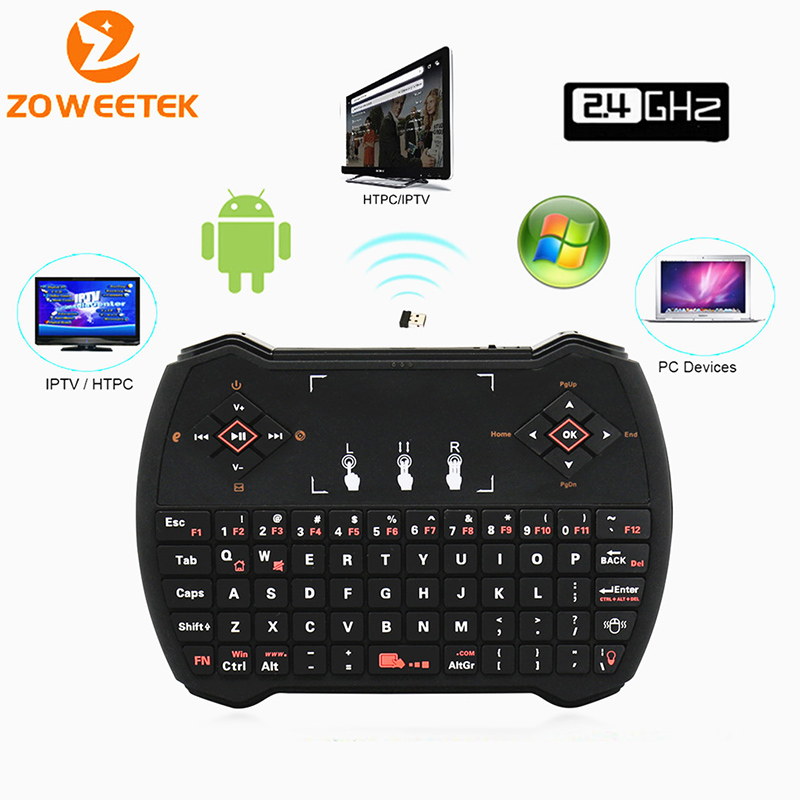 Original Zoweetek i28-1 Mini Wireless Keyboard 2.4G Russian English Keyboards Touchpad For Android Google Smart TV Box IPTV HTPC