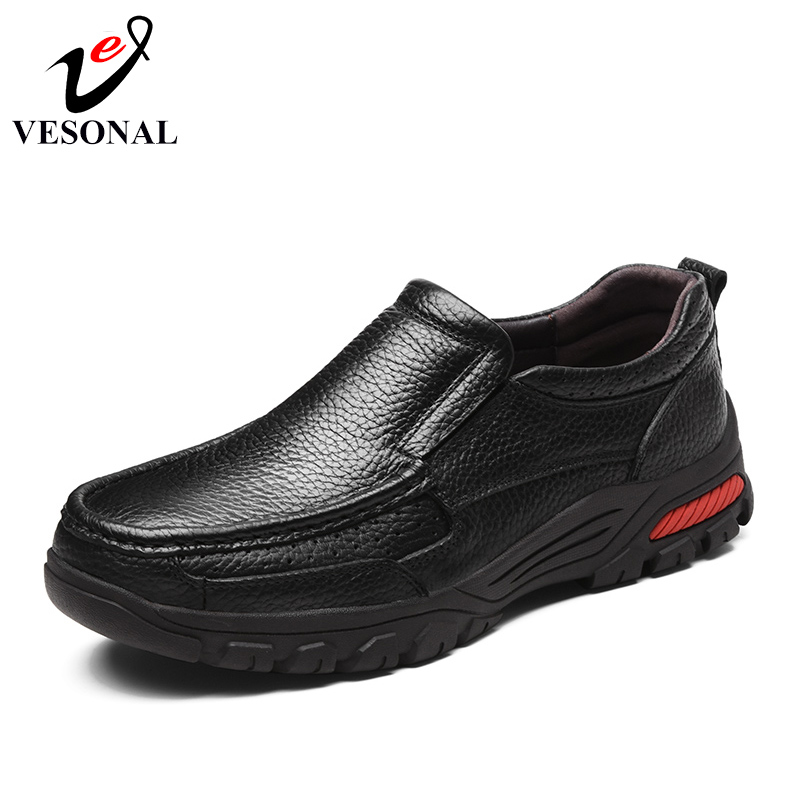 VESONAL Brand Genuine Leather Comfortable Short Plush Male For Men Shoes Adult 2018 New Winter Fashion