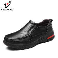 VESONAL Brand Genuine Leather Comfortable Short Plush Male For Men Shoes Adult 2018 New Winter Fashion With Fur Slip On Footwear