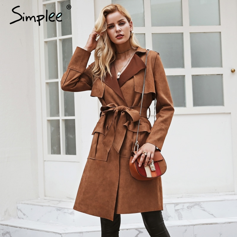 Simplee Turn down collar sash suede trench coat Casual leather pocket long women autumn coat Winter warm outwear overcoat female