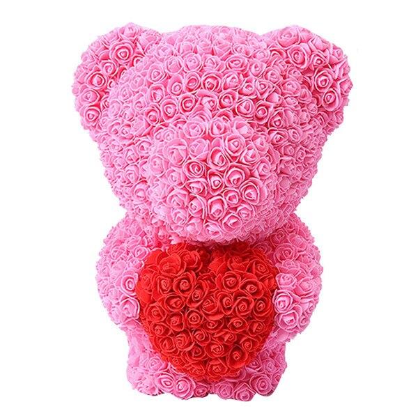 Искусственные цветы розы Медведь собака кролик Мопс юбилей день Святого Валентина подарок на день рождения мать подарок Свадебная вечеринка украшение - Цвет: 40CM Pink Stand Bear