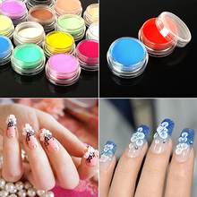 12 Mixed Colors Acrylic Nail Art Tips UV Gel Powder Dust 3D DIY Decoration Set