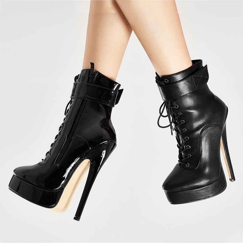 jialuowei New Women Shoes PU Leather Ankle Strap Boots 18cm/7 High Thin Heel Platform Boots Lace up Ladies sexy fetish boots