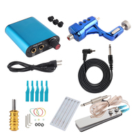 Professional Blue Tattoo Rotary Guns Kit Liner And Shader Complete Tattoo Machine Ink Sets Starter Supply