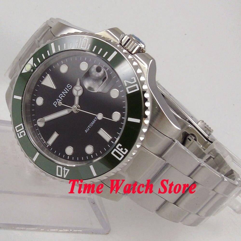 40mm parnis mostrador preto luminosa verde ceramic bezel MIYOTA vidro de safira relógio dos homens movimento automático dos homens relógio de pulso 121