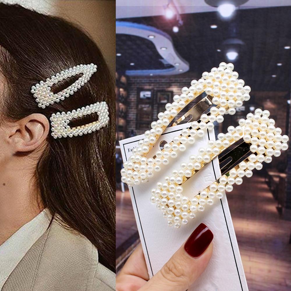 2pcs Ins Fashion Women Girls Elegant Pearls Hair Clips Sweet   Headwear   Hair Ornament Hairpins Barrettes Headband Hair Accessories