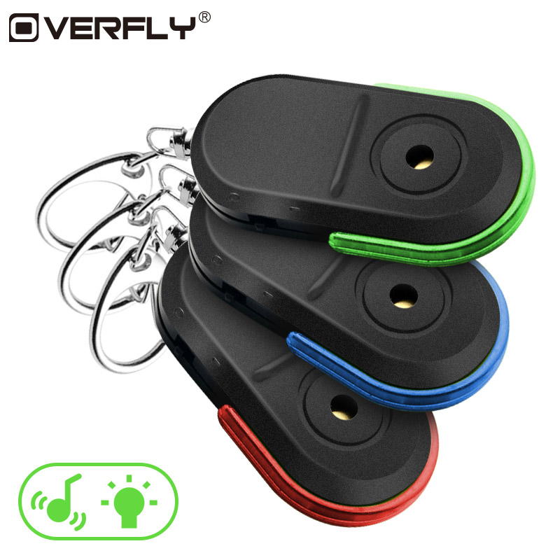 Overfly Whistle or Shout Wireless Anti-Lost Alarm Whistle Sound Key Finder Locator With Keychain LED Light red blue green sport car style 2 led white light flashlight keychain w sound effect red 4 x lr41