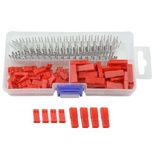 2.54mm JST SYP 2p Female & Male Red Plug Housing Crimp Terminal Connector Kit JST-SYP-2A 300Pcs (50set) For RC Lipo Battery