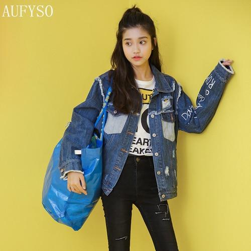 174c52162491c AUFYSO Jeans Jacket Women 2017 Autumn Harajuku Vintage Frayed Tassel Hole  Letter Printed Long Sleeve Blue Denim Jacket Coats C71
