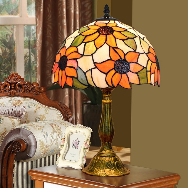 Euignis 12 inch Mosaic Stained Glass Vintage Table Lamp Deco Chambre ...