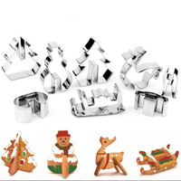 DIY 3D Baking Mould Include Snowman Christmas Tree Deer And Sled Stainless Steel CHRISTMAS Scenario