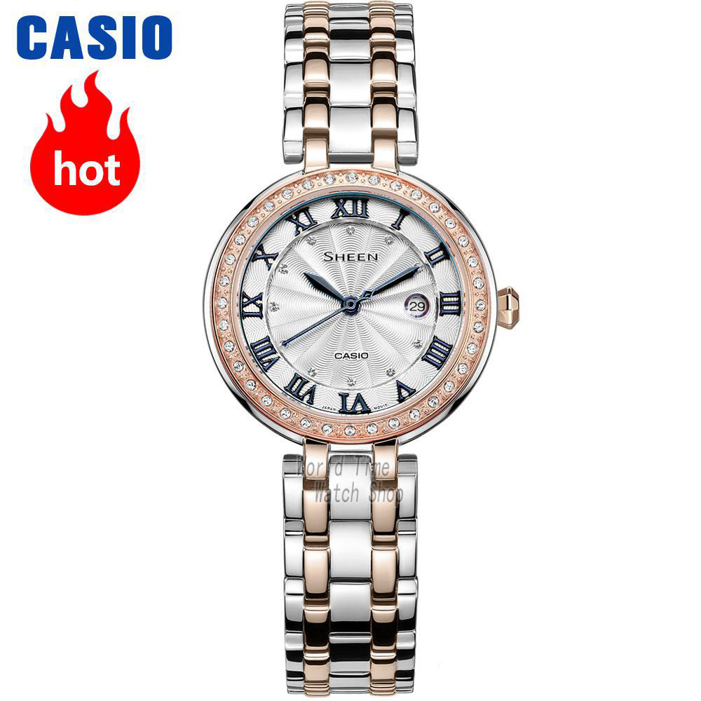 Casio klocka Sheen Kvinnors Quartz Watch-serie Fashion Elegant Diamond Vattentät Pointer Watch SHE-4034