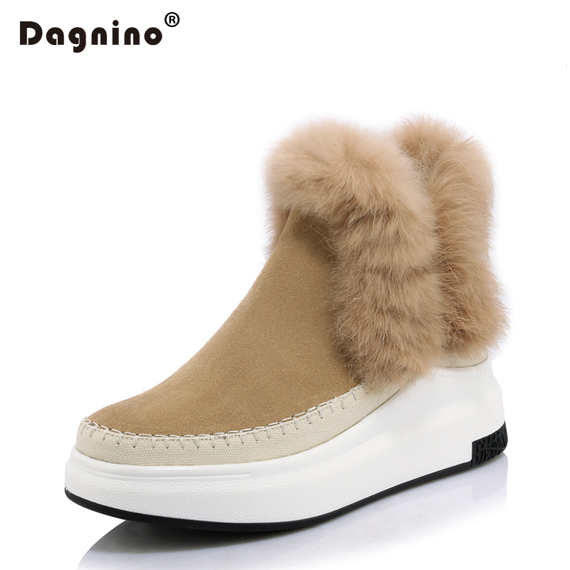 DAGNINO High Wedges Platform Ankle 2017 Casual Warm Fur Winter Snow Boots Woman Genuine Leather Suede Women Rabbit Hair Shoes