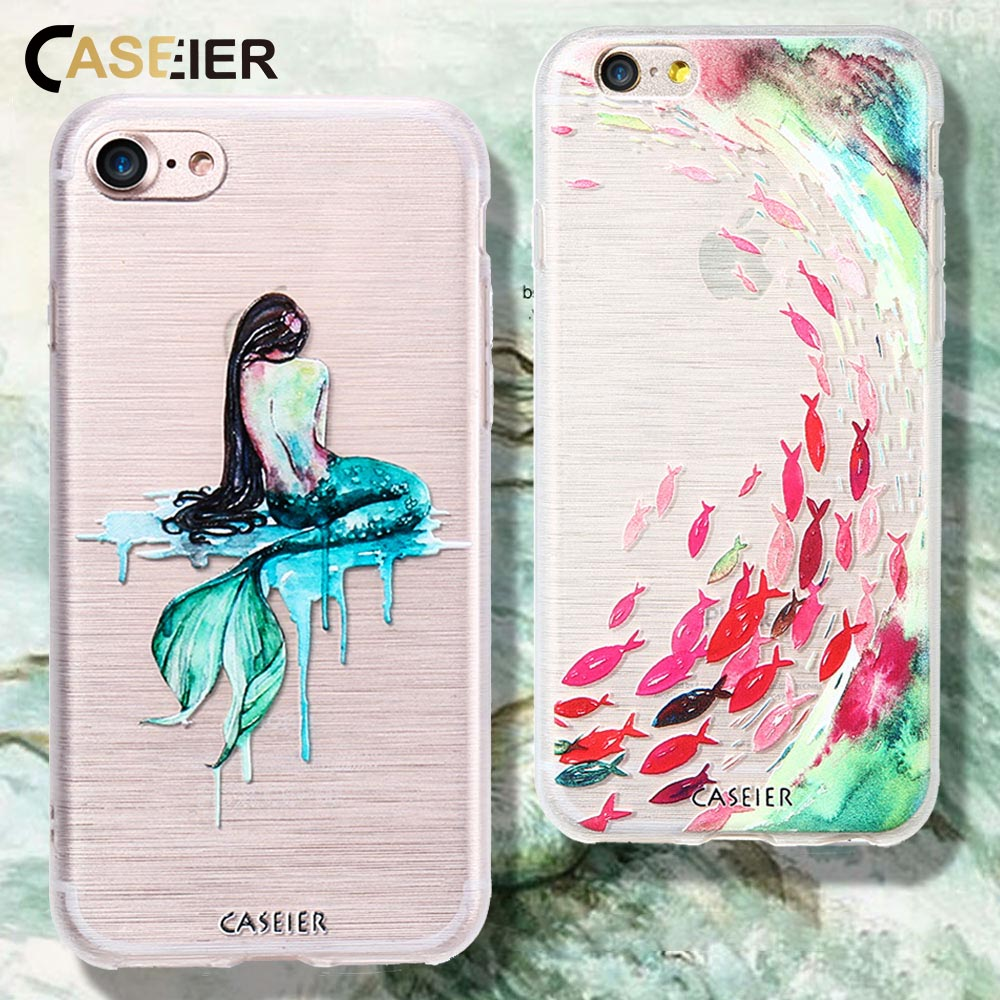 55a4f61cc1 CASEIER Ultra Slim Case For iPhone 7 6s 6 Plus Patterned Silicone Cases For iPhone  5s 5 6 6s 7 X 8 Plus Soft Fish Phone Bag Capa