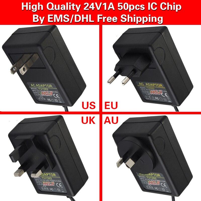 50PCS 24V1A AC 100V 240V Converter Adapter DC 24V 1A 1000mA Power Supply adaptor DC 5