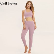 Female Sport Suit Women Fitness Two Pieces Sets Wear Bra Yoga Set Gym Jogging Running Leggings Solid Tracksuit Tights