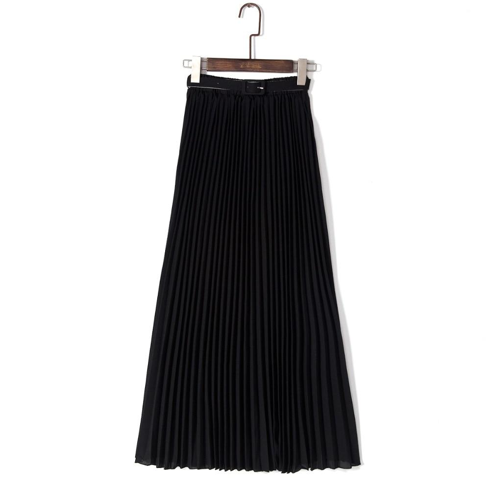 Anasunmoon Spring Bohemian Pleated Maxi Skirts Womens Summer Solid Color High Waist Chiffon Long Skirt Tutu Elegant Ladies Black