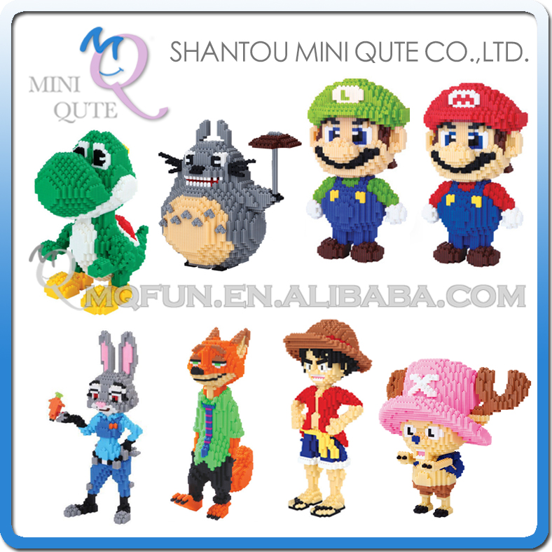 Mini Qute XIZAI Amine Super huge cartoon Super Mario Zootopia one piece luffy building block cartoon model educational toy mini qute full set 2 pcs lot hc zootopia huge nick wilde judy hopps plastic building block cartoon model educational toy no 9011