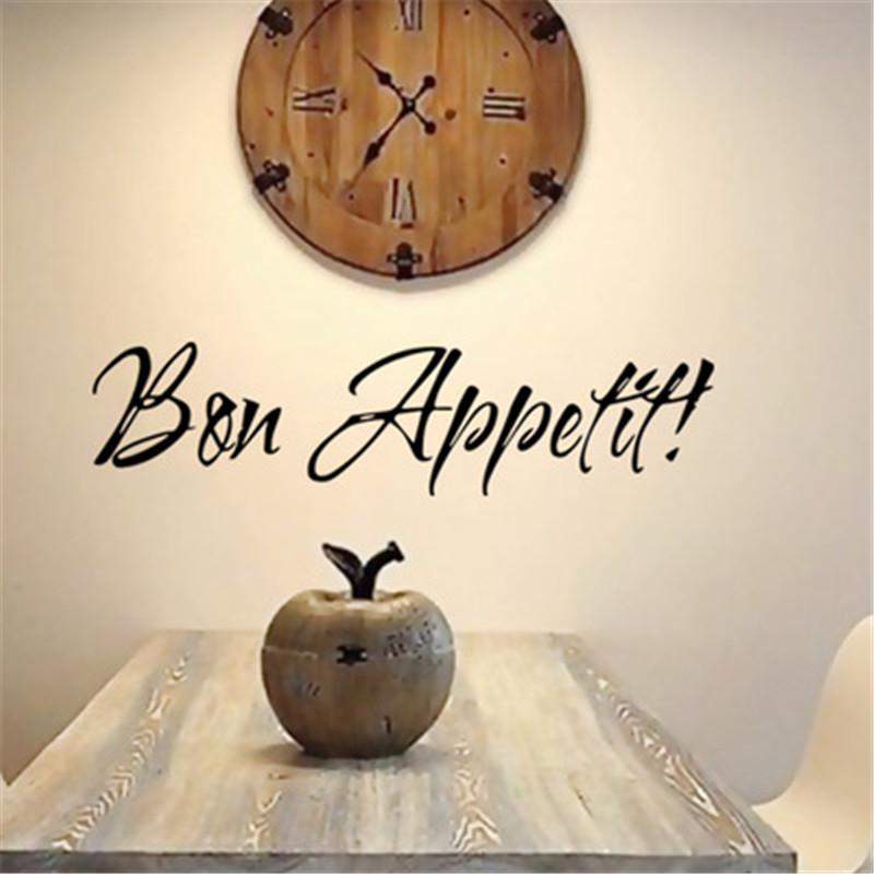 Bon Appetit Kitchen Wall Stickers Home Decoration DIY Vinyl Adesivo De Paredes Dining Room Decals Art Posters Wallpapers