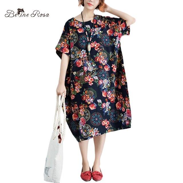 Belinerosa Womens Cotton Linen Dresses Plus Size Women Clothing