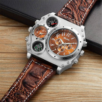 5cm Big Face Famous Brand Oulm Watches Mens Crocodile Leather Band Unique Designer Watches Boyfriend Husband