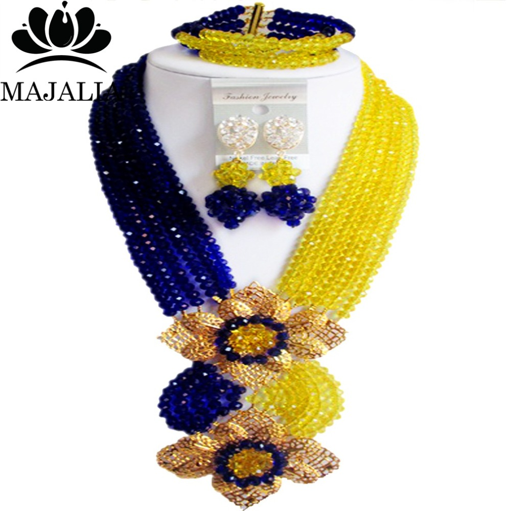 Nigerian wedding African beads jewelry set crystal blue and yellow necklace bracelet earrings A well known brand Majalia Y 40