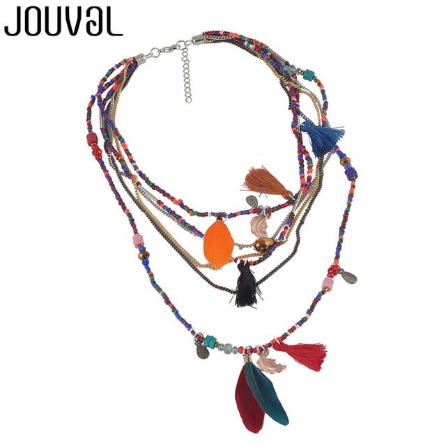 Ethnic Bohemian Choker Necklace Women 2018 Multilayer Beads Feather Pendants Sta