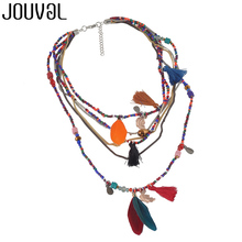 Ethnic Bohemian Choker Necklace Women 2019 Multilayer Beads Feather Pendants Statement Maxi Collares Collier Bohemia Jewelry