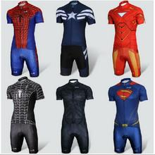Cool Cycling Sets Short Sleeve Clothes superhero Iron Man,Captain America, Batman, Superman Spiderman cycling Sets