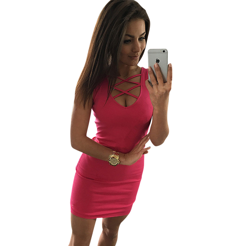 2018 Summer Sexy Slim Women Dress Solid Color U-Neck Cross-Belt Dress Sleeveless Plus Size Package Hip Dress