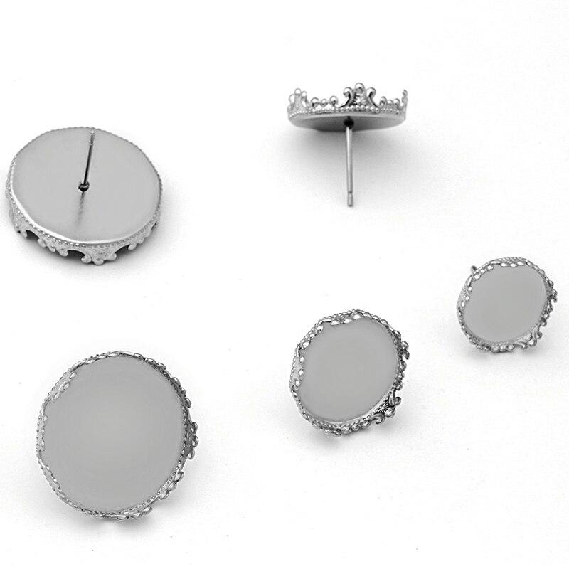 20 Conector de Acero Inoxidable En Blanco Cabujón Colgante Configuración corona 12mm Charms