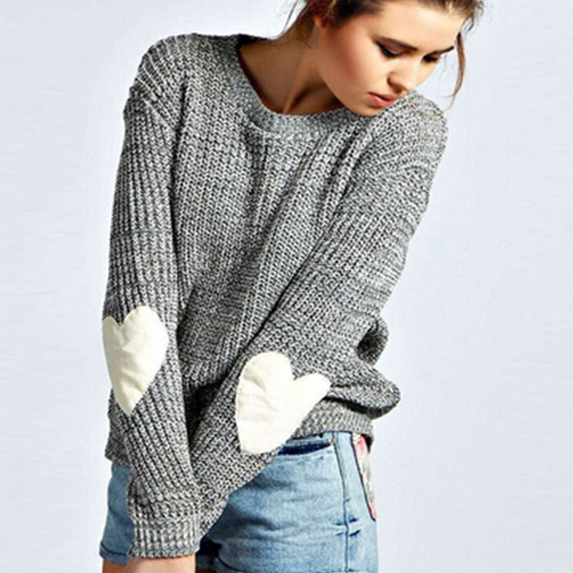 Autumn Winter Women Sweaters Heart Pattern Long Sleeve O-Neck Lovely Pullovers Knitted Loose Tops Plus Size 2016