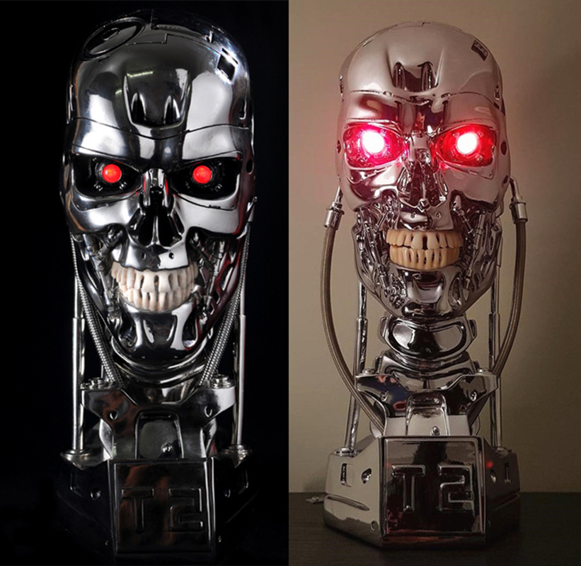 [Funny] Replica Resin Terminator T800 1:1 Scale Skull Endoskeleton Lift-Size Bust Figure light LED EYE T-800 T2 statue model gmasking terminator 2 t800 endoskeleton skull head statue scale 1 2 replica