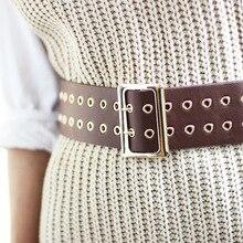купить HUOBAO Punk Style Rivets Hollow Waist Belts For Women Leather Black Fashion Pin Metal Buckle Waistband Belts ceinture femme дешево