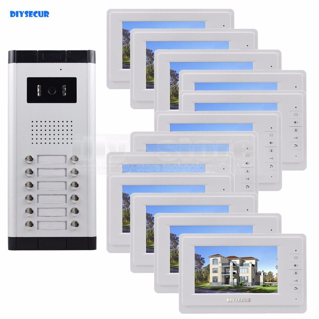 """DIYSECUR Quality 7"""" 4-Wired Apartment Video Door Phone Audio Visual Intercom Entry System IR Camera For 12 Families"""