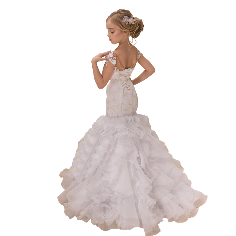 Little Flower Girls Pageant Dress Mermaid Robe Mariage Enfant Fille White First Communion Prom Party Long Kids Evening Ball Gown