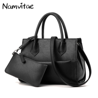 Namvitae Fashion 2 Bags Set Women Handbags PU Leather Composite Bag Famous Brands Tote Bags Lady